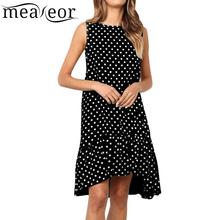 Women Casual O-Neck Sleeveless Dots Ruffles Dress Above Knee Summer A-line Silhouette Loose Pullover