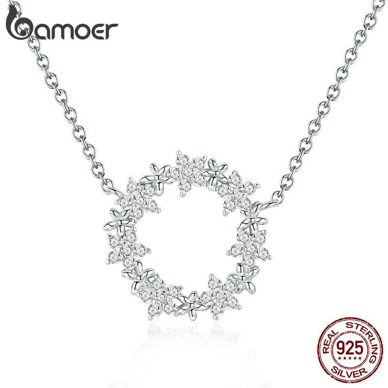 BAMOER Elegant 925 Sterling Silver Shining Stackable Star Round Shape Pendants Necklaces Women Wedding Jewelry Collar Innrech Market.com