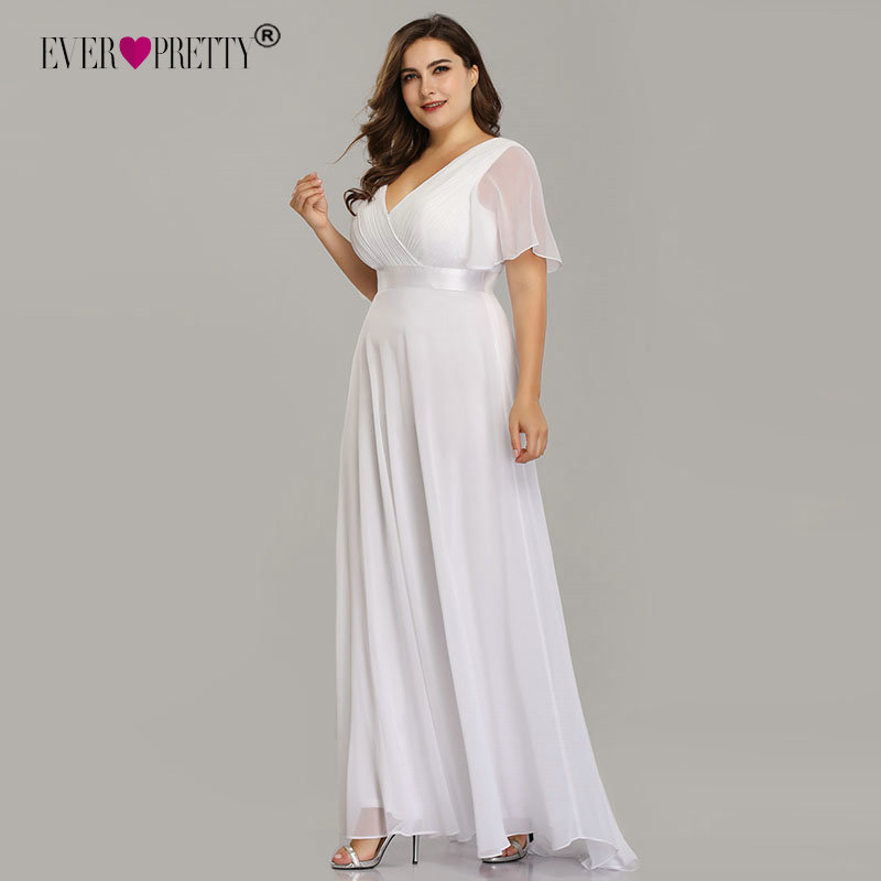 Plus Size Wedding Dress 2020 Ever Pretty Beach Simple A-line Chiffon White Robe De Mariee Elegant V-neck Vestido De Noiva