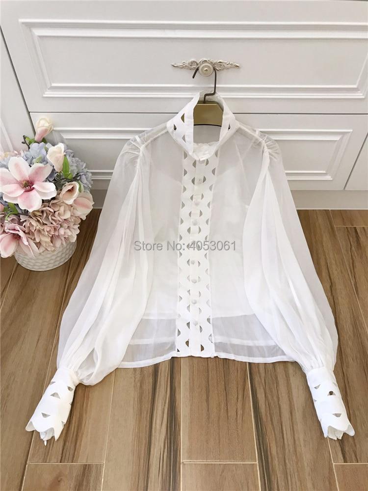 Montant Slip Avec Perspective Manches 2019ss blanc Et Bouffantes Mode Patchwork blanc De Noir Col Out Top Défilé Creux Blouse Noir Piste Détail Pwq8Z7W