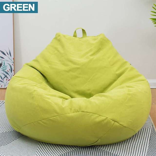 Green Lazy BeanBag Sofas Waterproof Stuffed Animal Storage Toy Bean Bag Solid Color Chair Cover Beanbag Sofas Without Lining
