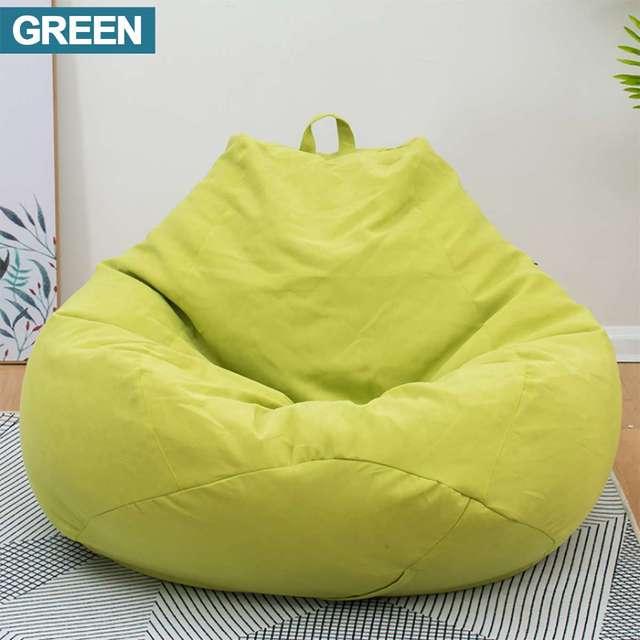 Sofás BeanBag Preguiçoso verde À Prova D' Água De Armazenamento Bicho de pelúcia Brinquedo Sofás Beanbag do Saco de Feijão Tampa Da Cadeira Cor Sólida Sem Forro