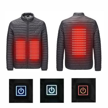 Hot 25-45 Degree Outdoor Camping 3 Speed USB Infrared Heating Jacket Winter Hiking Men Women Electric Thermal Windproof Coat