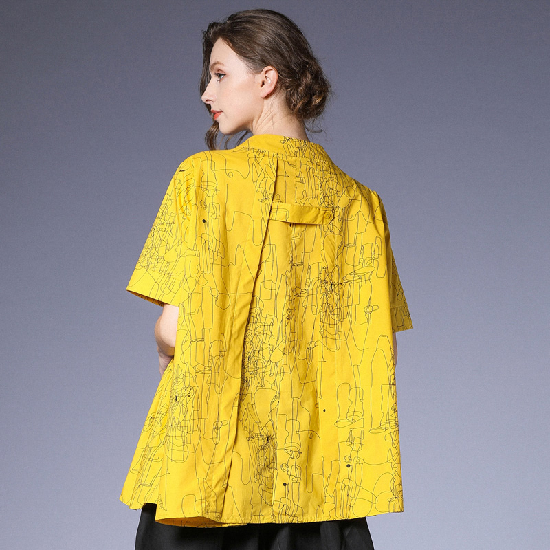[EAM] 2019 New Spring Summer Stand Collr Half Sleeve Yellow Pattern Printed Irregular Big Size Shirt Women Blouse Fashion JS907-in Blouses & Shirts from Women's Clothing    3