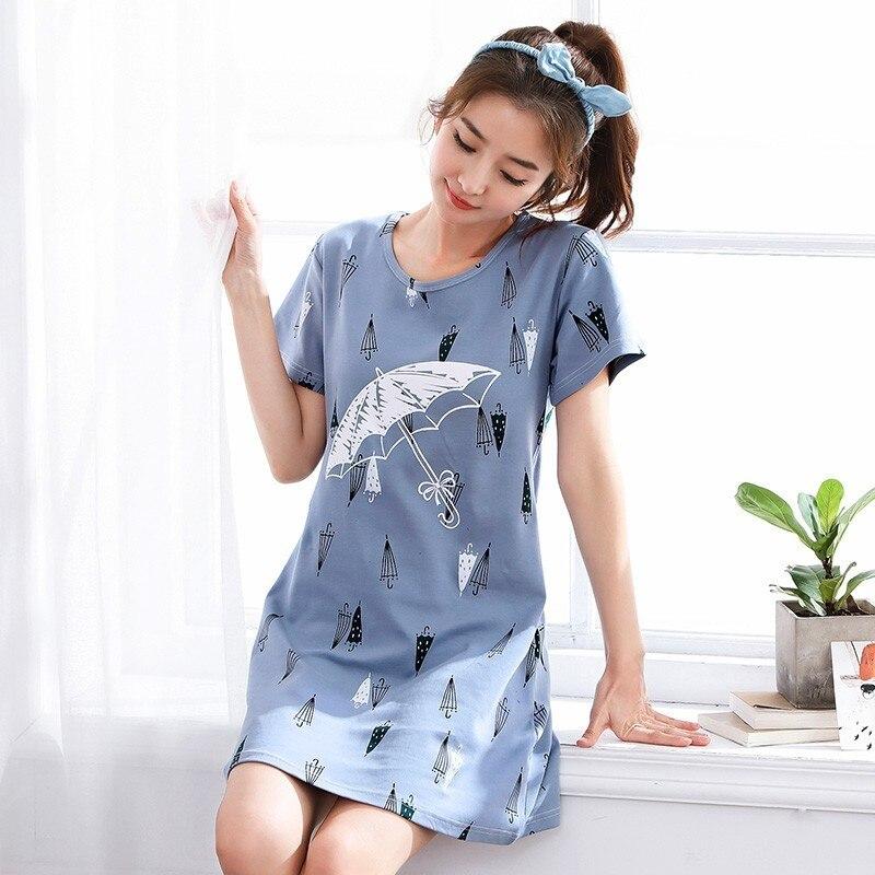 Women Long Cotton   Nightgown   Summer Cartoon Stripe Sleepwear Nightdress Lounge Wear Night Dress Home   Sleepshirt   Nighty   Sleepshirt