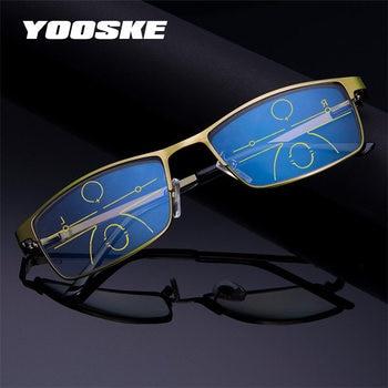 79ab801a633ec YOOSKE de bloqueo de luz azul gafas de lectura hombres Multifocal  Progresiva gafas de gafas para hipermetropía hipermétrope dioptrías