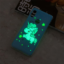 купить For Xiaomi Redmi Note 6 Pro Case Cute Unicorn Glow in the Dark Luminous Soft TPU Cover For Xiaomi Redmi Note 6 Case Silicone по цене 110.07 рублей