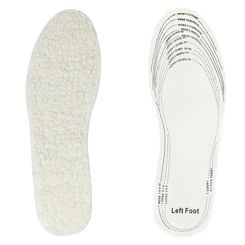 1 Pair Unisex Men Women Winter Warm Soft Wool Foot Shoe Insoles Pads Size 36-46