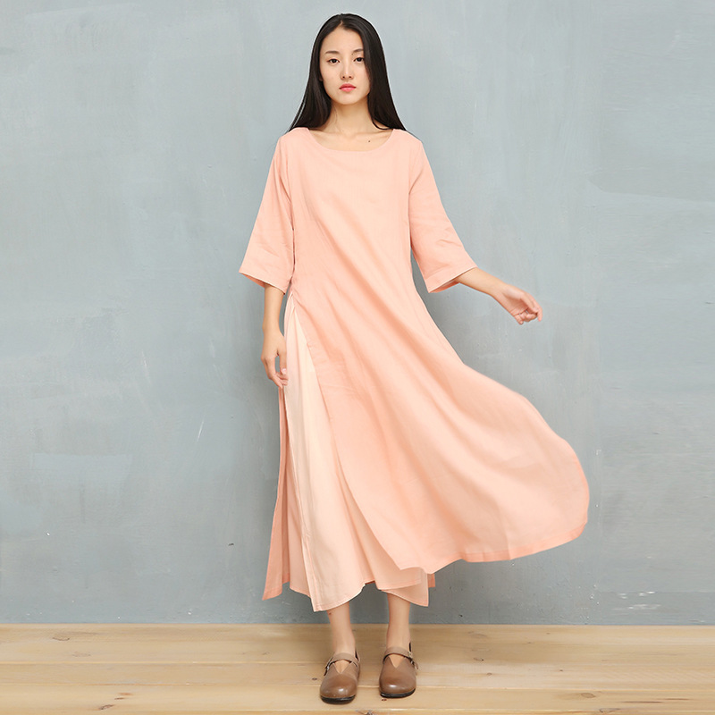 2019 Three Quarter Sleeve Shirt Dress Women Summer Autumn O Neck Ethnic Pink Solid Ramie Linen Dresses Vintage Loose Long Robe