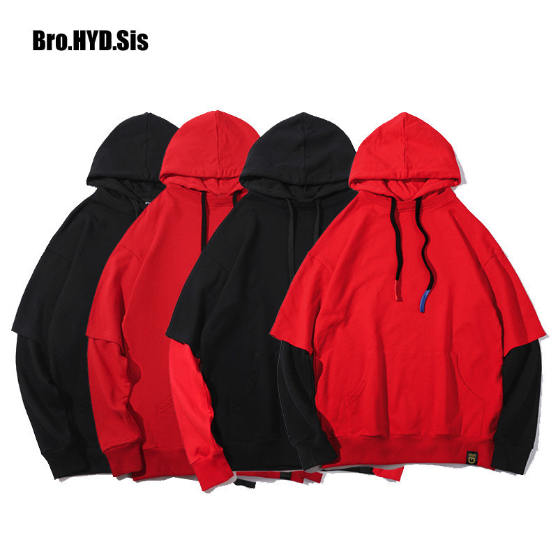 Fake Two Piece Cotton Hoodies Sweatshirts Men Patchwork Pullovers Women Hooded Pullover Sweats Preppy Style Man Clothes