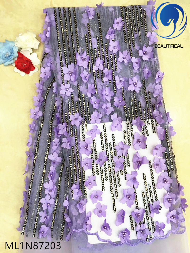 Beautifical french lace fabrics 3d flowers lace fabric Latest style net lace with sequins fabric embroidery for dress ML1N872Beautifical french lace fabrics 3d flowers lace fabric Latest style net lace with sequins fabric embroidery for dress ML1N872