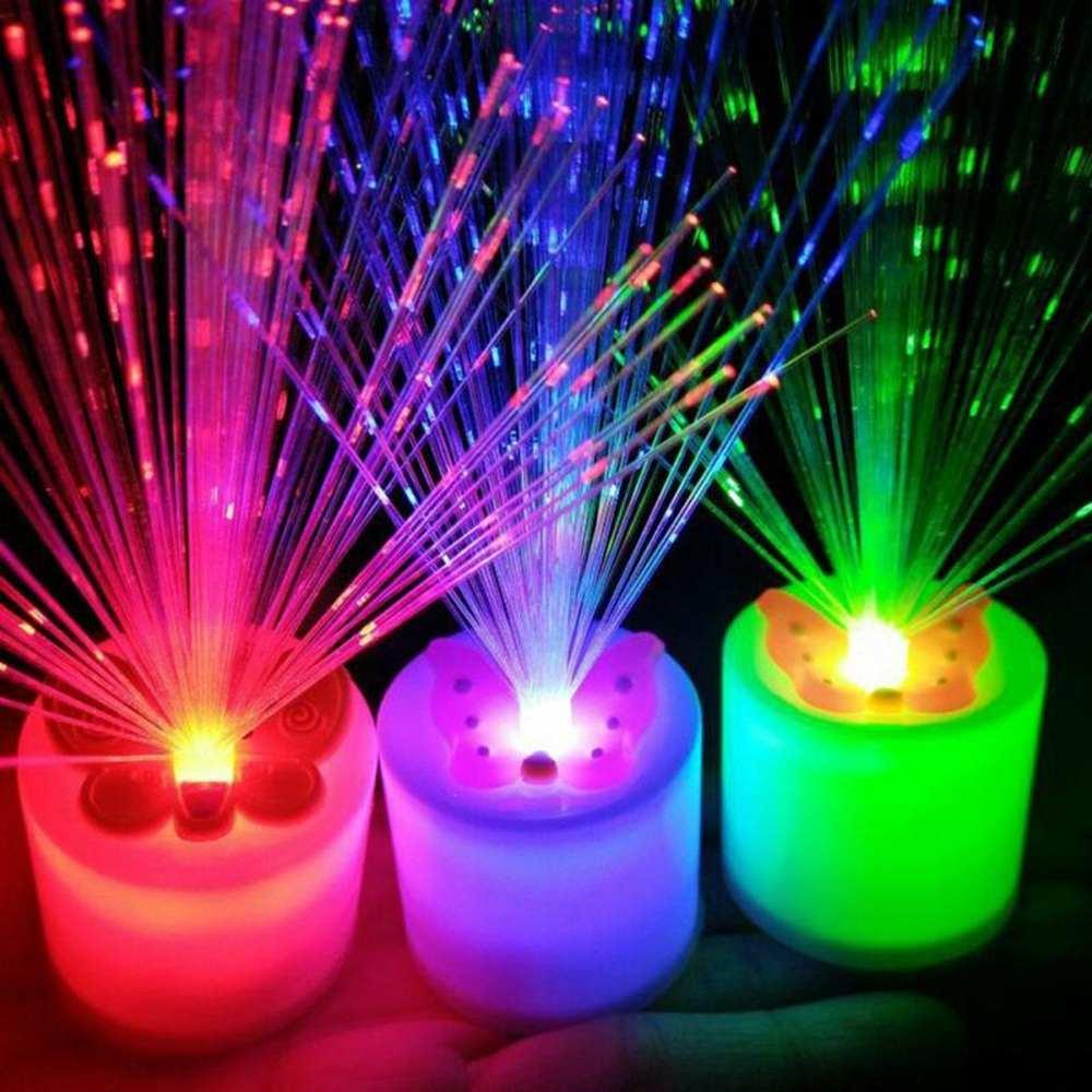 CLAITE Colorful LED Fiber Optic Lights Electronic Candle Christmas Holiday Light Bedroom Living Room Children Gift Light