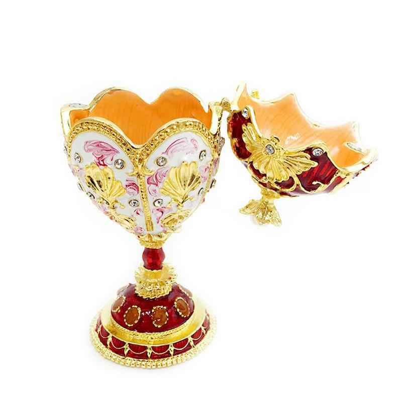 ... Vintage Red Jeweled Trinket Jewelry Ring Box Easter Egg Russian Craft  Wedding Birthday Christmas Gift Christmas ... 01fad8fd67ba