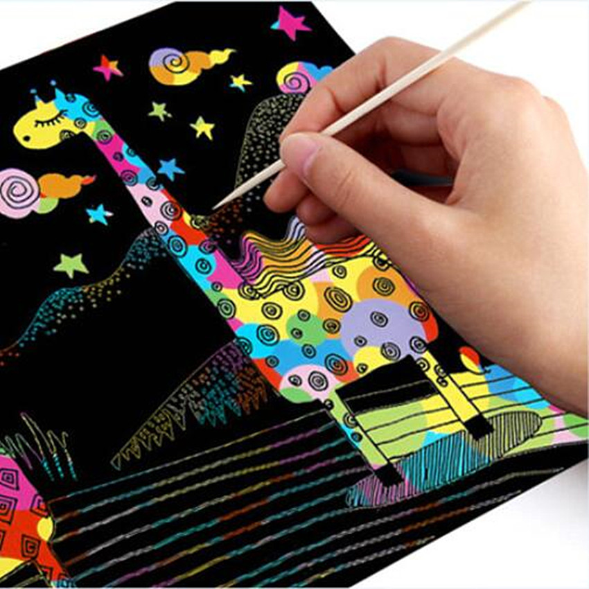 100pcs Magic Color Scratch Art Paper Coloring Cards Available On Both Sides Scraping Drawing Toys For Children 8.5cm  5