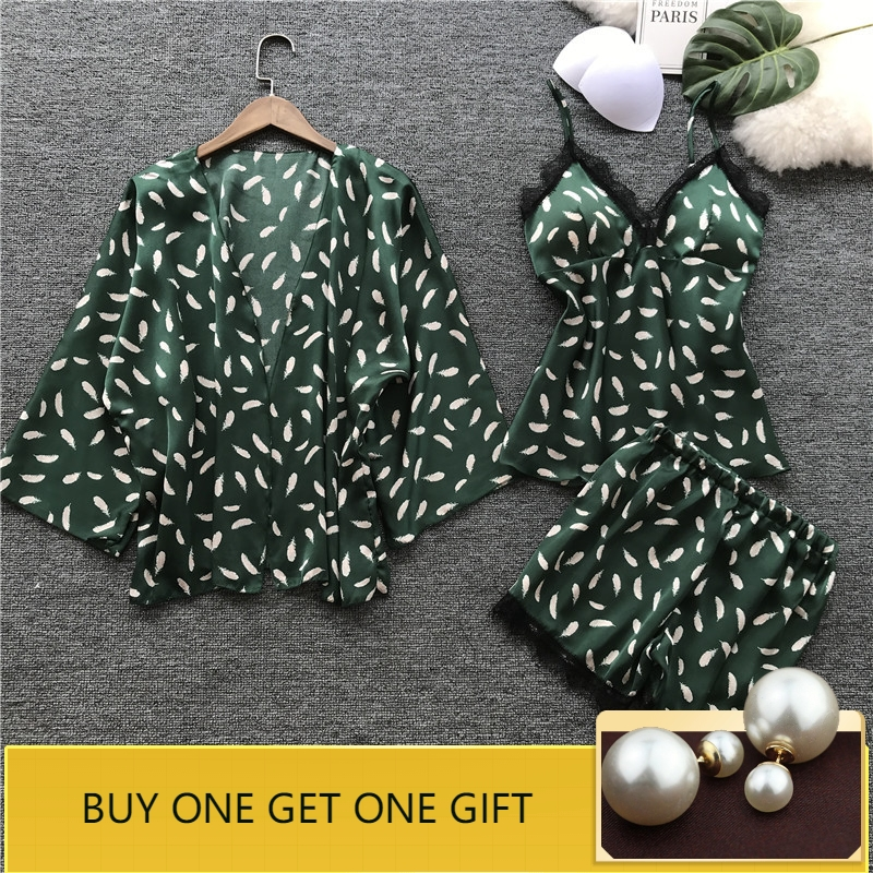 QWEEK Sleep Lounge Women Pajamas Sets with Chest Pad Summer Satin Sleepwear Women Casual Pyjama Femme Indoor Clothing 3 Pieces