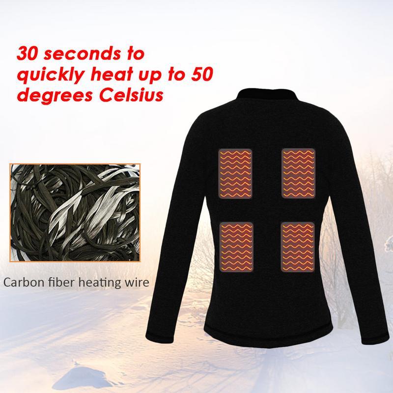Electric Heating Clothes Heated Shirt Vest USB Heating Intelligent Plus Velvet Jacket Thermal Underwear Top For Women Men M/L/XL