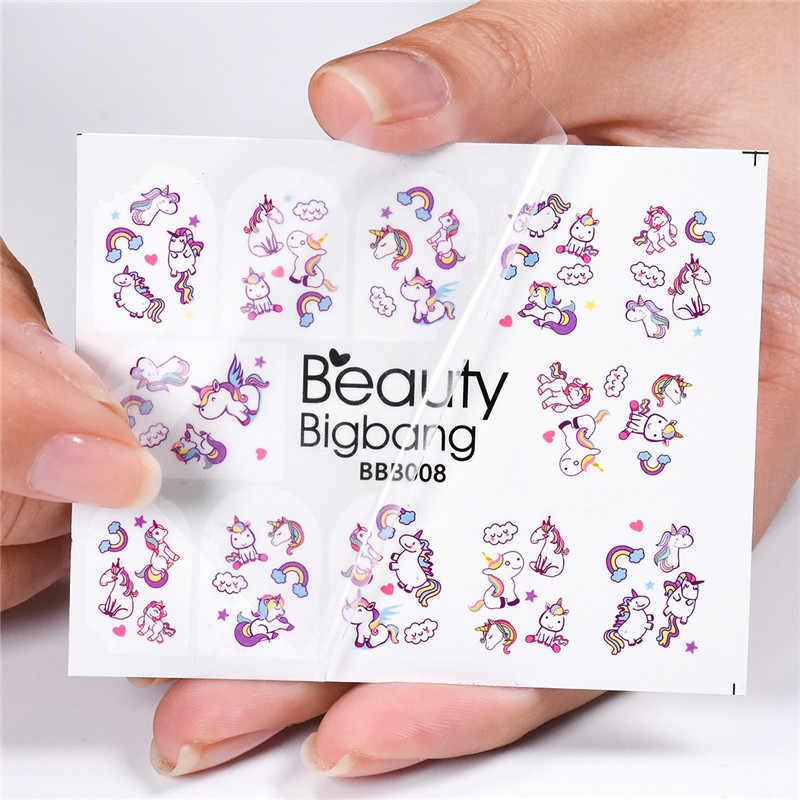 BeautyBigBang 1 лист Радуга облако изображения наклейки для ногтей милые животные Дизайн Маникюр Nail Art Украшение Водные Наклейки BBB008