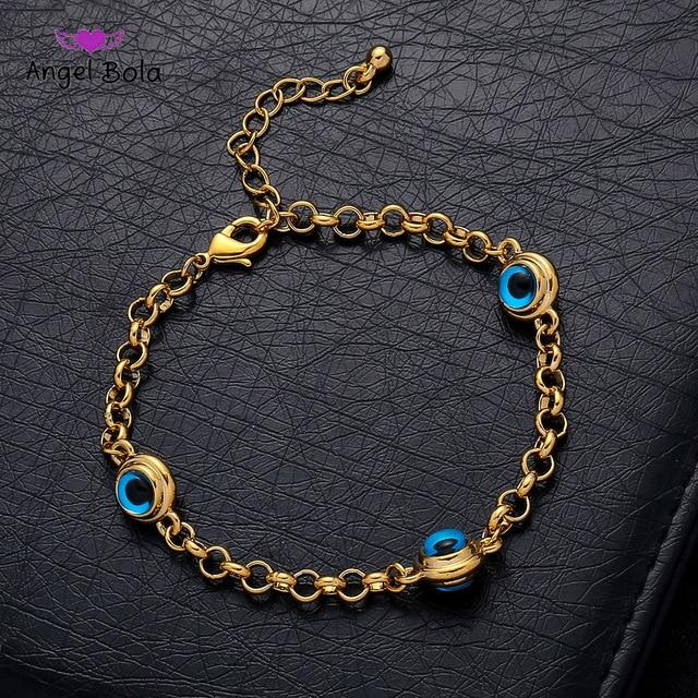 ブルー邪眼クリスタル魅力アッラーブレスレット女性イスラム教徒のジュエリー 3 トルコブルーアイブレスレットゴールドカラー決してメッキ色あせ