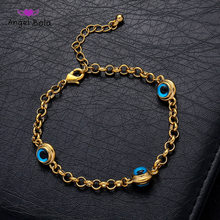 Blue Evil Eye Crystal Charm Allah Bracelets for Women Muslim Jewelry 3 Turkish Blue Eye Bracelet Gold Color Plated Never Faded(China)