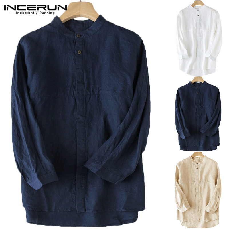 8f59cba80 Detail Feedback Questions about INCERUN Vintage Men Shirt Stand Collar 3/4 Sleeve  Cotton Linen Loose Casual Male Tops Blouse Solid Chinese Style Shirts Men  ...