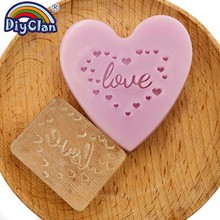 Love Handmade Soap Stamp Heart Pattern Transparent Natural Organic Glass Chapter Acrylic Making Seal Custom Z0352LO