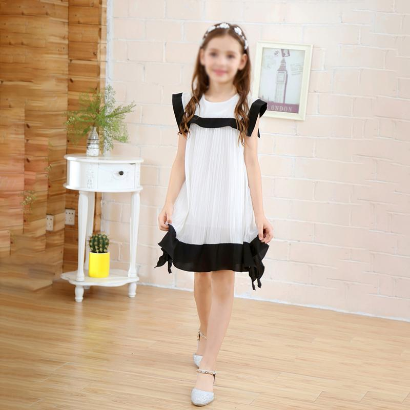 Crianças Meninas Vestido Preto E Branco Emenda Chiffon Marinha Vestido Gola Estilo Lolita Vestido Elegante Primavera Outono Adequado