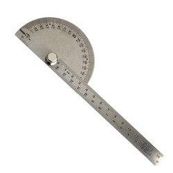 THGS 0-180 stopni kąt linijka okrągła głowa obrotowy kątomierz 145mm regulowany uniwersalny Instrument ze stali nierdzewnej srebrny