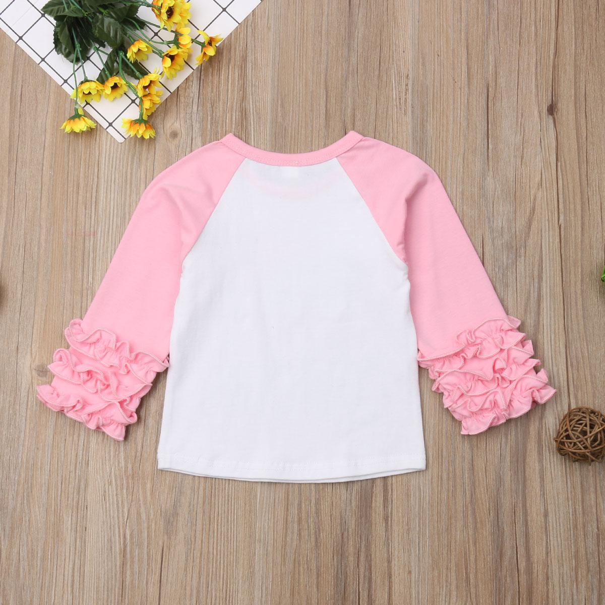 1-6Y Осенние милые для младенцев Одежда для маленьких девочек топы с принтом букв пуловер с длинными рукавами и оборками Розовая Одежда
