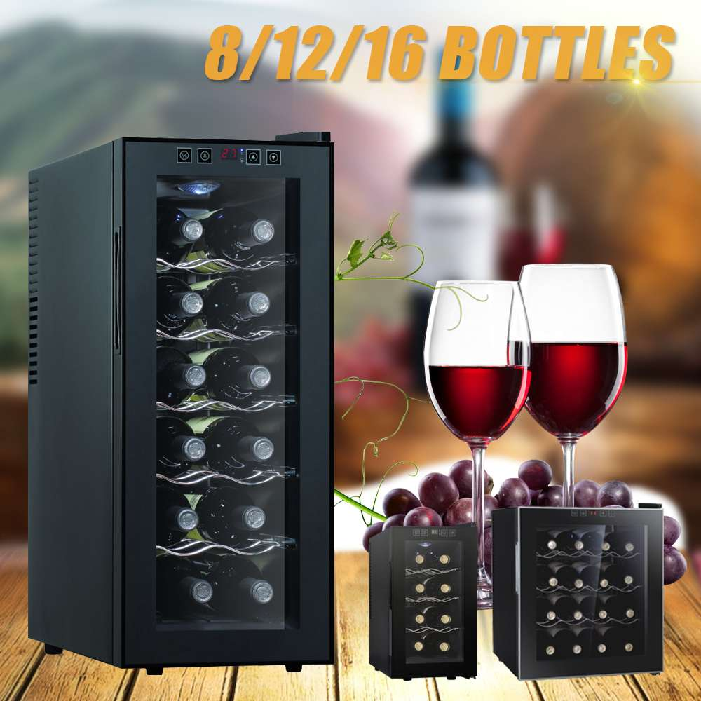 16 Bottles Wine Cooler Refrigerator Air-tight Beer Drink Professional Thermostatic Wine Cabinet For Commercial/Household
