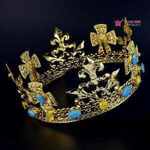 Имперский средневековый Золотой корона для мужчин или женщин Косплей модель шоу волос ювелирные изделия Золотой Металл Король Королева ...