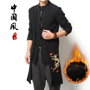 #4012 Long Trench Coat Men Winter Mens Overcoat Embroidery Dragon Traditional Chinese Style Clothing Windbreaker Cotton Linen