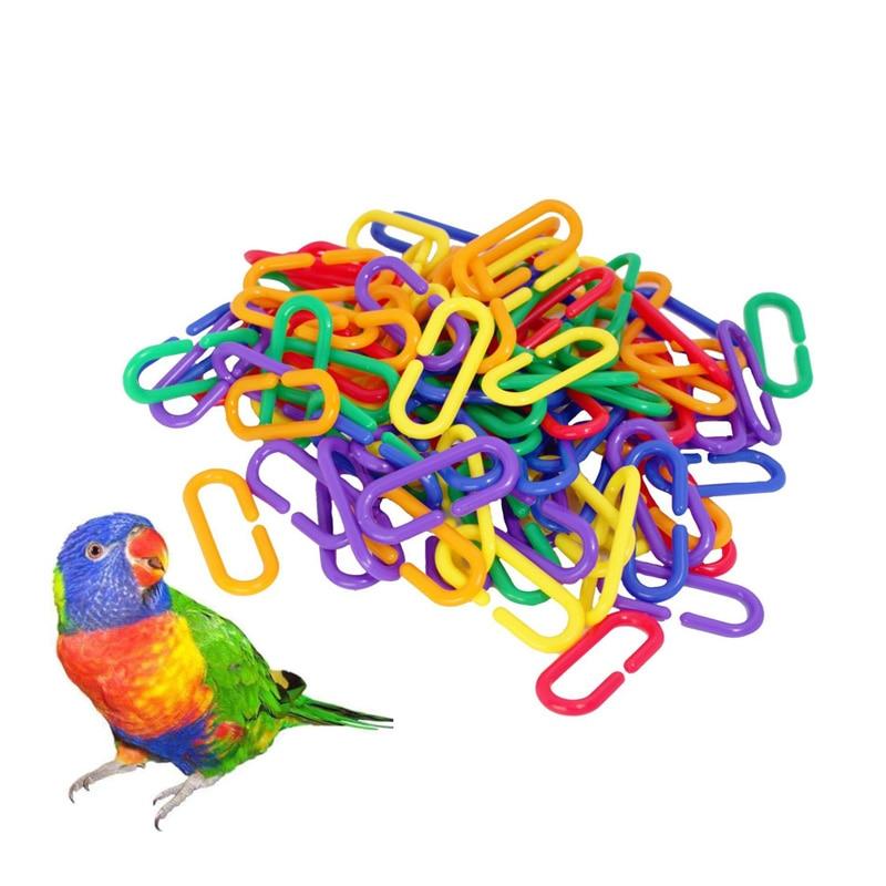 100 Pcs Sugar Glider Parakeet Bird Accessories C-clips Plastic Parrot Toys Hooks Chain Rat Parrot Bird Toy Parts C-links