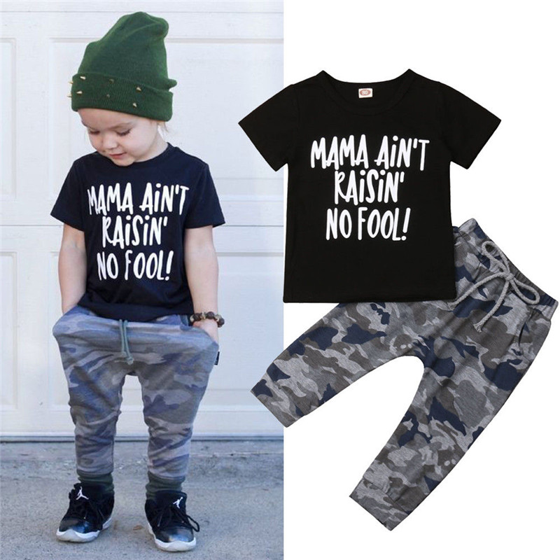 2pcs Baby boy Clothes Kid Infant Children Camoflage Pant Short Sleeve Black Tshirt Clothing Set Toddler Boy Summer Outfits