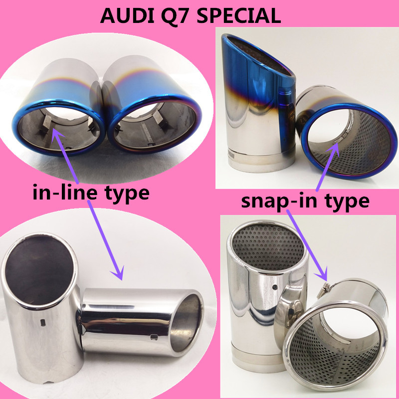 2 STYLE REFITTING Exhaust  Muffler Modified Tail Throat Liner Pipe For AUDI Q7 SEPCIAL Pipe INLET 95mm.length 175mm-in Mufflers from Automobiles & Motorcycles    1