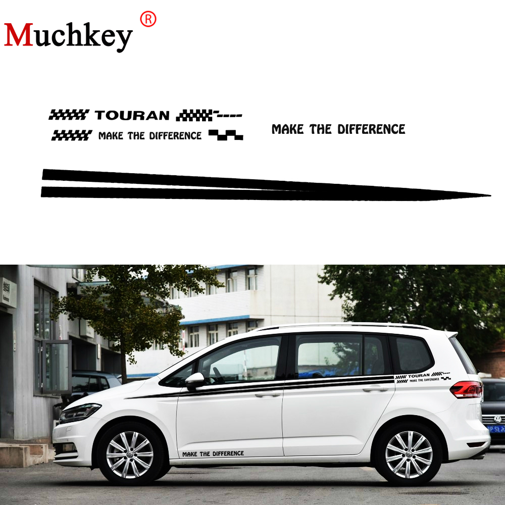 For volkswagen vw touran car sticker auto side body decal sticker decals diy car decoration racing sticker car accessories 280cm