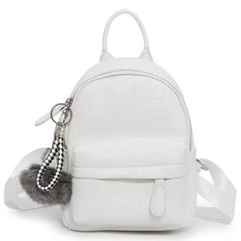 Pu Leather Backpack With Serving Female Mochila Travel Backpack(White)