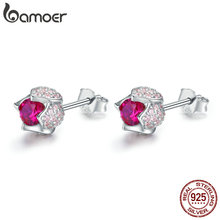 BAMOER Romantic 925 Sterling Silver Luminous Tulip Flower Buds Pink CZ Zircon Stud Earrings Women Wedding Jewelry Gift BSE042