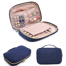 Fashion Velvet Zipper Protective Large Capacity Earrings Pouch Women Travel Portable Display Organizer Bag Necklace Jewelry Case