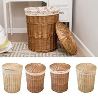 Laundry Hamper Storage Basket Rattan Dirty Clothes Basket Wicker Laundry Bag Woven Storage Basket With Lid