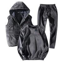 Большие размеры, L 8XL, золотой бархатный свитер, зимние костюмы для мужчин, комплект из 3 предметов, зимний жилет с капюшоном, пальто + рубашка +