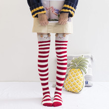 9b088d8c945 Women Ladies Soft Over Knee Long Boot Thigh High Warm Stockings Leggings  Coral Velvet 65cm Sexy Cartoon Striped Winter Knitted