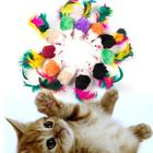 10 Pcs False Mouse Pet Cat Toys Mini Funny Mice & Animal Playing Toys For Cats with Colorful Feather Plush Mini Mouse Toys