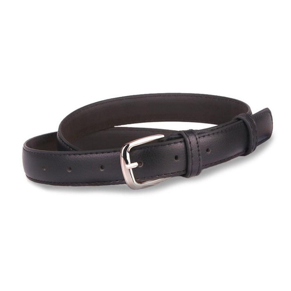 Female Black Faux Leather Belts With Metal Pin Buckle Free Women 2018 Harajuku Luxury Thin Jeans Dress Belt 85-125cm Riem Ladies
