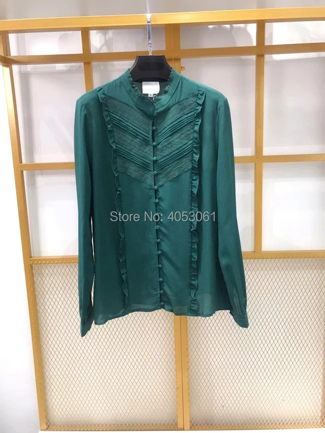 Silk 100% Lace Patchwork Stand Collar Shirt Top With Ruffled Detail   2019 White/Black/Green Blouse Shirt-in Blouses & Shirts from Women's Clothing    2