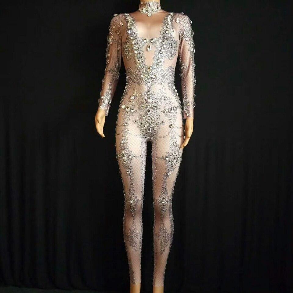 Блестящий Комбинезон с кристаллами, женское шикарное боди со стразами для празднования вечеринок, роскошные костюмы для пения, танцев