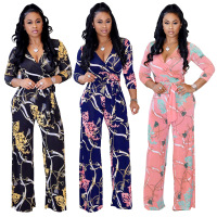 Women's bodysuit long sleeve flower print V collar Printing plus size jumpsuits
