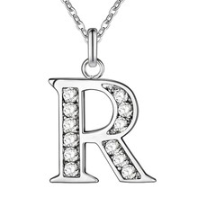 Alphabet Letter from A to Z Fashion silver Color 925 Name Necklace Pendant Fashion Silver jewelry Link Chain(China)