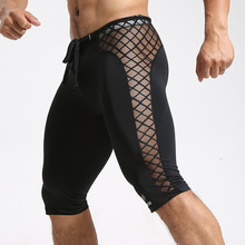 Meias de compressão homens grade costura-secagem rápida execução leggings  ginásio de esportes basquete calções 1521655ef6c86