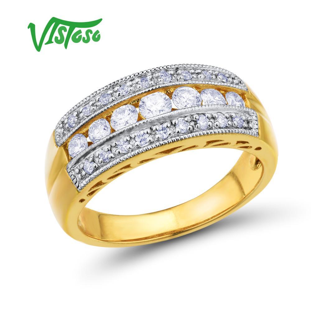 VISTOSO Ouro Anéis Para As Mulheres Genuine 14 585 K Amarelo Anel de Ouro Espumante Luxo Diamante Wedding Band Engagement Fine Jewelry