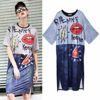 2019 Summer Women Street Gradient Color 3d Cartoon Red Mouth Printing Straight Long Dress Fashion Loose Tee Maxi Dress Dy102